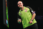 Michael van Gerwen secures the draw against James Wade during the PDC Premier League Darts at Arena Birmingham, Birmingham, United Kingdom on 25 April 2019.