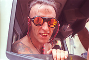 Cool specs from a cool raver, 2nd Criminal Justice March, Victoria, London, UK, 23rd of July 1994.