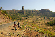 Ethiopia, Amhara Region two children walk in the landscape