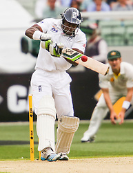 © Licensed to London News Pictures. 26/12/2013. Michael Carberry plays an attacking stroke  during the Ashes Boxing Day Test Match between Australia Vs England at the MCG on 26 December, 2013 in Melbourne, Australia. Photo credit : Asanka Brendon Ratnayake/LNP