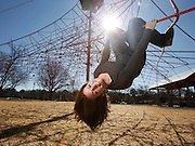 Adrian Cleckler designed the Space Net playground in Snow Hinton Park in Tuscaloosa. She is seen hanging around the park February 16, 2016.  Staff Photo/Gary Cosby Jr.