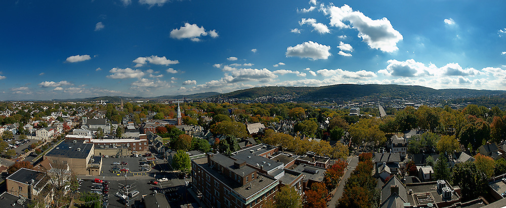 From the top of the old Bank of America building in Bethlehem, Pennsylvania. This shot features sweeping views of the Lehigh Valley from Broad St. to St. Lukes Hospital