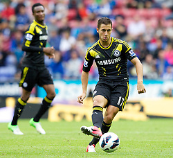 WIGAN, ENGLAND - Sunday, August 19, 2012: Chelsea's Eden Hazard in action against Wigan Athletic during the Premiership match at the DW Stadium. (Pic by Vegard Grott/Propaganda)