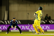 Matthew Wade of Australia (right) is bowled by Steven Finn of England (not shown) to complete England's victory during the 3rd One Day International match at Old Trafford Cricket Ground, Stretford<br /> Picture by Andy Kearns/Focus Images Ltd 0781 864 4264<br /> 08/09/2015