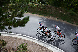 Katie Hall (USA), Kasia Niewiadoma (POL) and Sara Poidevin (CAN) lead on the climb out of Mende at Tour Cycliste Féminin International de l'Ardèche 2018 - Stage 5, a 138.4km road race from Grandrieu to Mont Lozère, France on September 16, 2018. Photo by Sean Robinson/velofocus.com