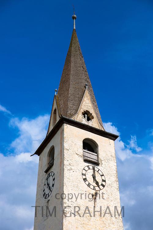 Church in the Engadine Valley village of Ardez, Switzerland