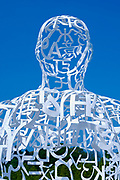 Jaume Plensa Sculpture, Seated Figure Formed from a Mesh of White Letters, Yorkshire Sculpture Park, UK
