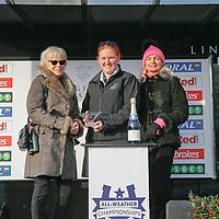 Presentation to winning owners of Flighty Filia <br /> The 32RedSport.com Handicap Cl5<br /> Lingfield Park 24/2/16.<br /> &copy;Cranhamphoto.com