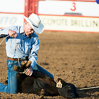 Bud Clemons competes at the National Senior Pro Rodeo Association in Grants on Wednesday.