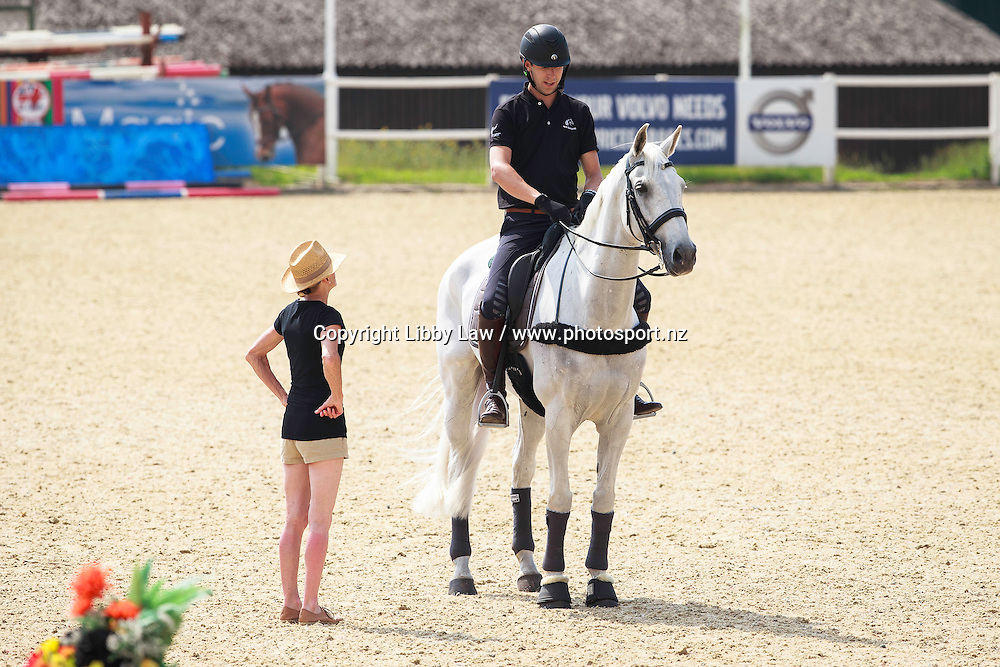 NZL-Clarke Johnstone (BALMORAL SENSATION) during Dressage Training with Isobel Wessels (ESNZ High Performance Dressage Coach) and Christian Landholt (Dressage Judge) New Zealand Olympic Equestrian Eventing Team Camp, David Broome Event Centre, Crick, South Wales, United Kingdom (Wednesday 20 July) CREDIT: Libby Law/ESNZ COPYRIGHT: LIBBY LAW PHOTOGRAPHY