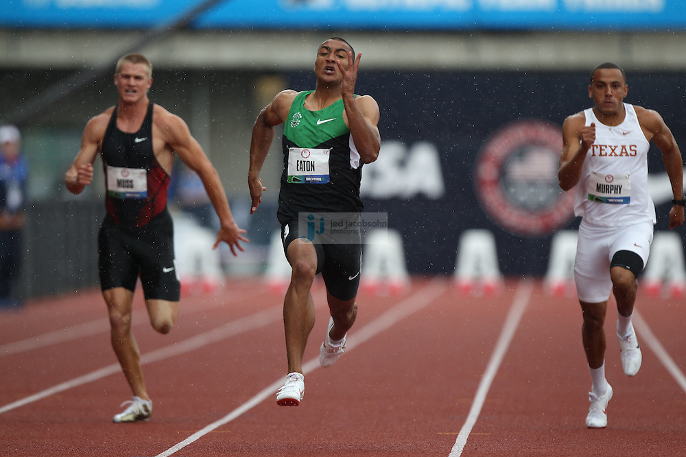 Ashton Easton runs in his heat for the 100m dash during the Decathlon during day 1 of the U.S. Olympic Trials for Track & Field at Hayward Field in Eugene, Oregon, USA 22 Jun 2012..(Jed Jacobsohn/for The New York Times).....