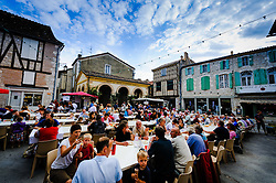 Villagers enjoy an open air feast on Bastille Day in Issigeac, France<br /> <br /> (c) Andrew Wilson | Edinburgh Elite media