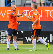 Picture by David Horn/Focus Images Ltd +44 7545 970036<br /> 03/08/2013<br /> Luke Gutteridge of Luton Town congratulates Jake Howells after scoring  during the Friendly match at Kenilworth Road, Luton.