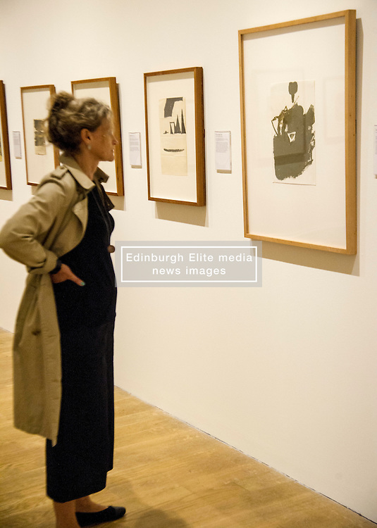 Pictured: Rachel Spence takes in some of Joseph Beuys drawings<br /> <br /> The Richard Demarco & Joseph Beuys A Unique Partnership exhibition examines the collaboration between the avant-garde gallerist and German post-war artist. The exhibition is open to the public between  30 July and 1 October 2016<br /> <br /> Ger Harley | EEm 28 July 2016