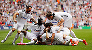 Hereford FC celebrate scoring the opening goal  during the FA Vase Final at Wembley Stadium, London<br /> Picture by Simon Moore/Focus Images Ltd 07807 671782<br /> 22/05/2016