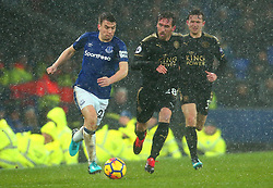 Seamus Coleman of Everton goes past Christian Fuchs of Leicester City - Mandatory by-line: Robbie Stephenson/JMP - 31/01/2018 - FOOTBALL - Goodison Park - Liverpool, England - Everton v Leicester City - Premier League