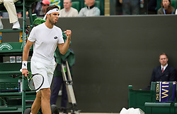 LONDON, ENGLAND - Monday, July 4, 2016:  Jiri Vesely (CZE) during the Gentlemen's Single 4th Round match on day eight of the Wimbledon Lawn Tennis Championships at the All England Lawn Tennis and Croquet Club. (Pic by Kirsten Holst/Propaganda)
