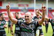 Hull FC hooker Danny Houghton (9) celebrates during the Challenge Cup 2017 semi final match between Hull RFC and Leeds Rhinos at the Keepmoat Stadium, Doncaster, England on 29 July 2017. Photo by Simon Davies.