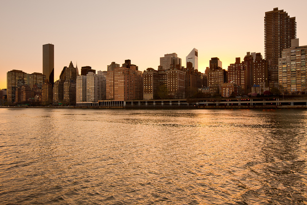 Skyline of midtown Manhattan at sunset, New York City, NY, USA
