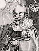 Robert Fludd (1574-1637) English chemist, astrologer and mystic, supporter of the Rosicrucians and a follower of Paracelsus, born at Bearsted, Kent.  From 'Icones Virorum' by Friedrich Roth-Scholtz (Nuremberg, 1725).