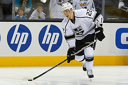 Nov 7, 2011; San Jose, CA, USA; Los Angeles Kings center Trevor Lewis (22) warms up before the game against the San Jose Sharks at HP Pavilion.  Mandatory Credit: Jason O. Watson-US PRESSWIRE
