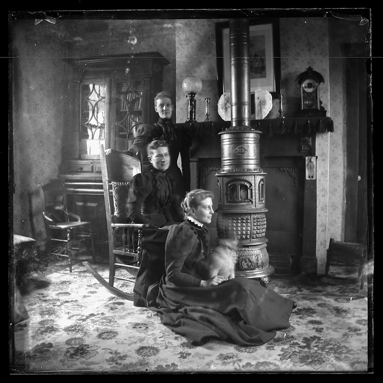 Victorian photograph of three women in their house in Fallston, Maryland