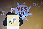 Owen Jones speaking at the TUC demo at the Conservative party conference, Manchester. 4th October 2015