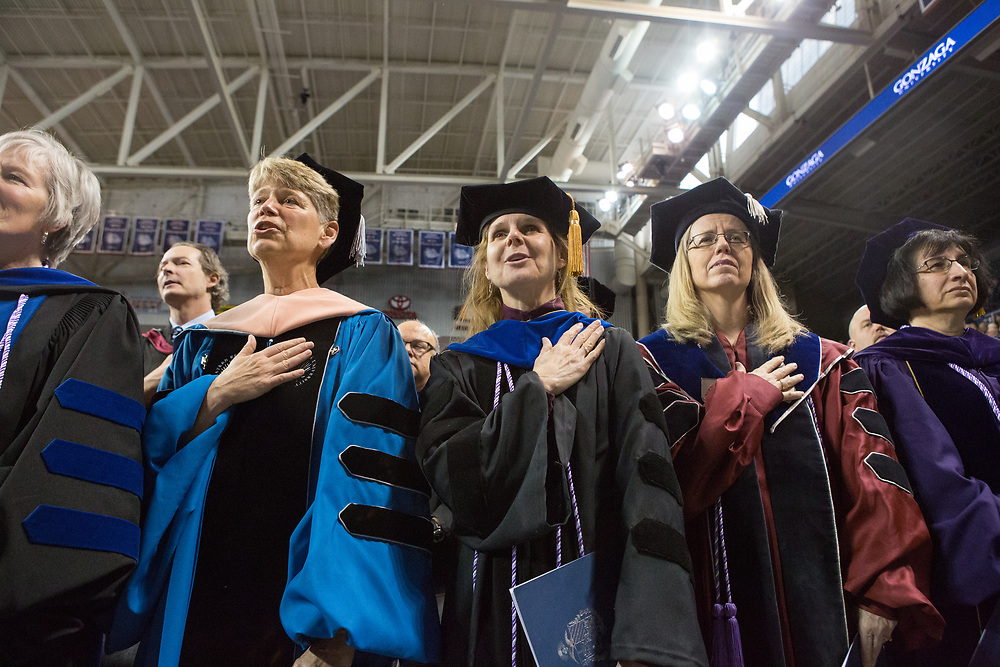 The Gonzaga community gathers in the McCarthey Athletic Center on May 13 to celebrate graduate commencement. Photo by Libby Kamrowski