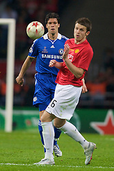 MOSCOW, RUSSIA - Wednesday, May 21, 2008: Chelsea's Michael Ballack in action against Manchester United's Michael Carrick during the UEFA Champions League Final at the Luzhniki Stadium. (Photo by David Rawcliffe/Propaganda)