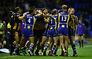 Things get heated between the two sides during the Dacia World Club Series match Warrington Wolves -V- Brisbane Broncos at Halliwell Jones Stadium , Warrington, Cheshire, England on February 18, 2017. (Steve Flynn/Image of Sport)