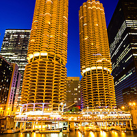 Chicago Marina City Towers at picture. Marina City is a residential complex of two round buildings along the Chicago River in downtown Chicago.