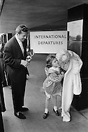 Daughter says goodbye to movie star Jayne Mansfield and Mickey Haggarty, her father on their way to the Cannes Festival.<br />