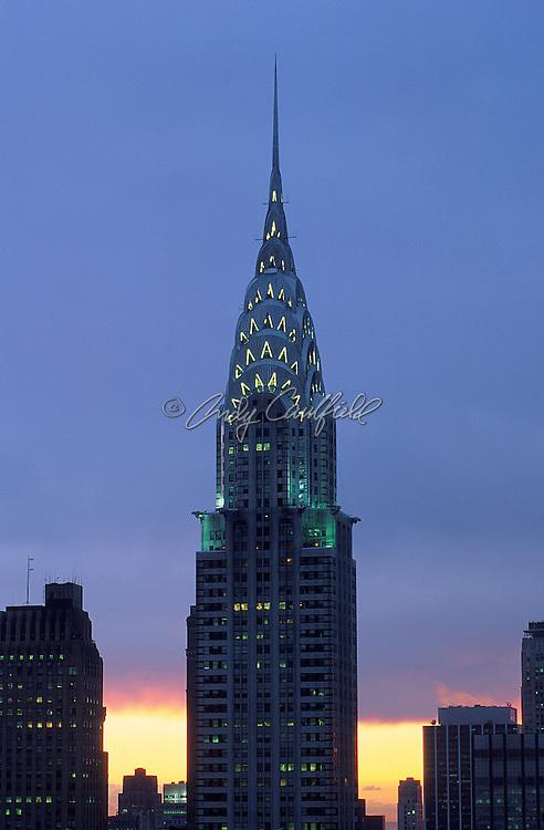 Chrysler Building at sunset, architect William van Allen 1930, NYC. 77 story Art Deco masterpiece.