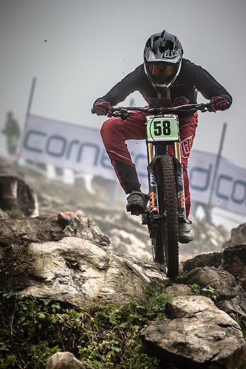 Nathan StClair (USA) during the downhill qualifying runs at the 2018 UCI MTB World Championships - Lenzerheide, Switzerland