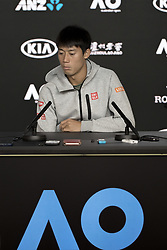 MELBOURNE, Jan. 23, 2019  Kei Nishikori of Japan reacts during the press conference after he retired from the men's singles quarterfinal match against Novak Djokovic of Serbia at the 2019 Australian Open in Melbourne, Australia, Jan. 23, 2019. (Credit Image: © Hu Jingchen/Xinhua via ZUMA Wire)