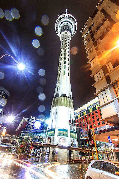 portrait image of the sky tower, auckland at night