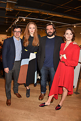 Left to right, Simon Bird, Lily Cole, Matt Berry and Charlotte Ritchie at The Philanthropist After Party held at The Mall Galleries, 17 Carlton House Terrace, London England. 20 April 2017.