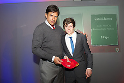 CARDIFF, WALES - Saturday, May 11, 2013: Daniel James is presented with his U16's cap by Wales national team manager Chris Coleman at the FAW Trust Under-16's cap presentation. (Pic by David Rawcliffe/Propaganda)