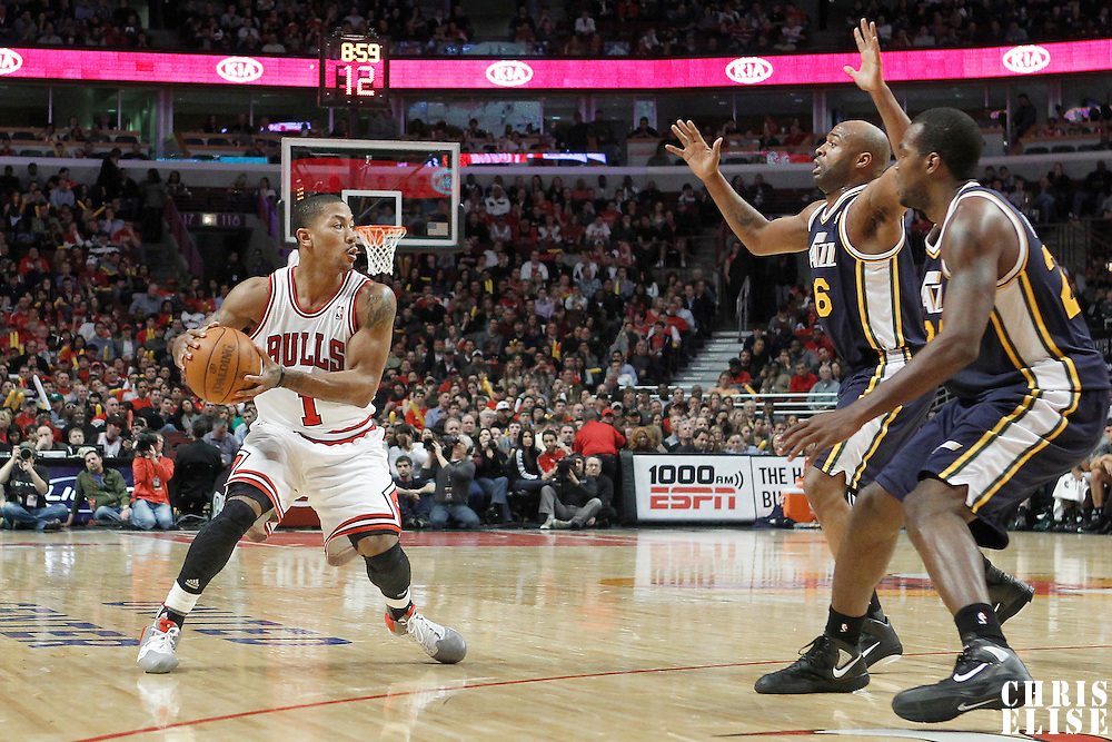 10 March 2012: Chicago Bulls point guard Derrick Rose (1) looks to pass the ball during the Chicago Bulls 111-97 victory over the Utah Jazz at the United Center, Chicago, Illinois, USA.