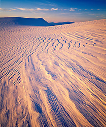 Dunes at sunset, White Sands National Monument, USA.