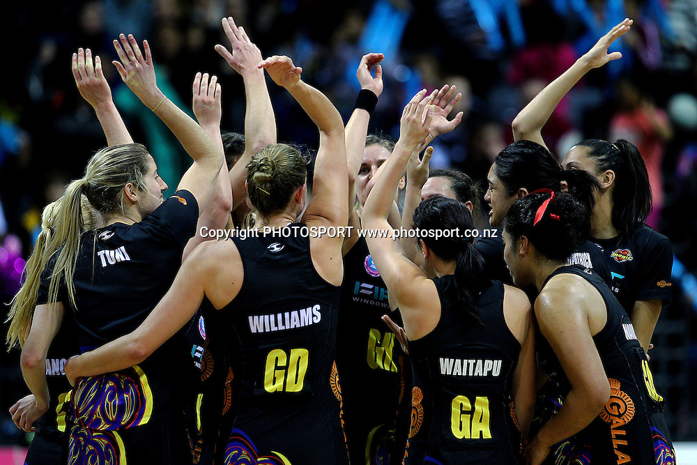 Magic's players celebrate their win. ANZ Netball Championship, Waikato/Bay of Plenty Magic v Queensland Firebirds, Claudelands Arena, Hamilton, New Zealand. Monday 2nd July 2012. Photo: Anthony Au-Yeung / photosport.co.nz