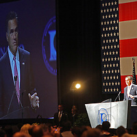 Republican Presidential Nominee and former Massachusetts Governor Mitt Romney, speaks at the NALEO (National Association of Latino Elected and Appointed Officials) conference at the Disney Contemporary Resort Convention Center in Orlando, Fla. on Thursday, June 21, 2012.(AP Photo/Alex Menendez) Presidential hopeful Mitt Romney speaks to members of NALEO in Orlando, Florida.