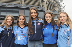 Pictured at Croke Park supporting Rice College in the Hogan Cup Final were Jenny Coughlan, Jaimee Geraghty, Megan Nugent, Aoife McLaughlin Aisling Halpin Fahy<br /> Pic Conor McKeown