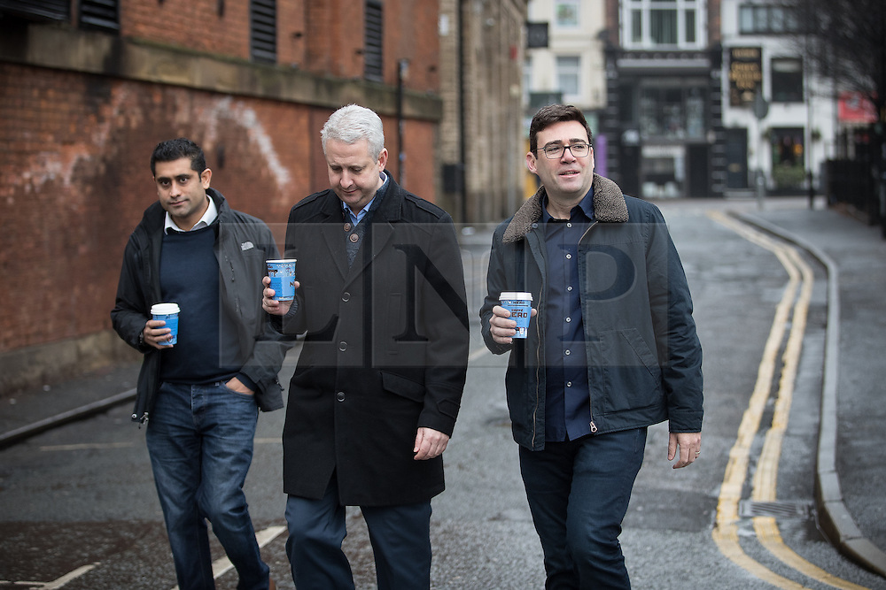 © Licensed to London News Pictures. 07/01/2017. Manchester, UK.  Rishi Shori (leader of Bury council) , Ivan Lewis MP and Andy Burnham arrive. Andy Burnham , Labour Party candidate for Mayor of Greater Manchester, launches his ground campaign and sets out his campaign policy, with party activists, at the Mechanics' Institute in Manchester. The election for Greater Manchester Mayor will take place in May. It will be represent the largest regional devolution of finance and power in England, to date. Photo credit: Joel Goodman/LNP