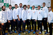 (L-R) Zeljko Krajan - captain national team & Borna Coric & Mate Pavic & Marin Cilic & Marin Draganja & Mariusz Fyrstenberg & Marcin Matkowski & Michal Przysiezny & Jerzy Janowicz & Radoslaw Szymanik - captain national team while official draw at Regent Hotel one day before the BNP Paribas Davis Cup 2014 between Poland and Croatia at Torwar Hall in Warsaw on April 3, 2014.<br /> <br /> Poland, Warsaw, April 3, 2014<br /> <br /> Picture also available in RAW (NEF) or TIFF format on special request.<br /> <br /> For editorial use only. Any commercial or promotional use requires permission.<br /> <br /> Mandatory credit:<br /> Photo by © Adam Nurkiewicz / Mediasport