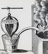 Stephen Hales's (1677-1761) pneumatic trough for collecting gases.  From his 'Vegetable Satiks', 1727.