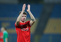 SOFIA, BULGARIA - Wednesday, November 26, 2014: Liverpool's Joe Maguire celebrates after beating PFC Ludogorets Razgrad 3-0 during the UEFA Youth League Group B match at the Georgi Asparuhov Stadium. (Pic by David Rawcliffe/Propaganda)