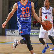 BYU alumni Jimmer Fredette (16) drives towards the basket as Delaware 87ers Guard Sean Kilpatrick (14) defends in the first half of a NBA D-league regular season basketball game between the Delaware 87ers and the Westchester Knicks Saturday Dec, 26, 2015 at The Bob Carpenter Sports Convocation Center in Newark, DEL