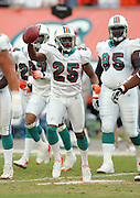 MIAMI - DECEMBER 10:  Cornerback Will Allen #25 of the Miami Dolphins celebrates after recovering a fumble against the New England Patriots at Dolphin Stadium on December 10, 2006 in Miami, Florida. The Dolphins defeated the Patriots 21-0. ©Paul Anthony Spinelli *** Local Caption *** Will Allen