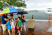 """Annapolis, Maryland - June 05, 2016: A thunderstorm prompts two families to huddle under umbrellas at the Kunta Kinte-Alex Haley Memorial park in historic Annapolis Sunday June 5th, 2016. Earlier that day a perigean spring tide brought some of the highest water levels of the year to the coastal town and partially flooded the park. Thunderstorms are a more common cause of nuisance flooding in Annapolis. <br /> <br /> A perigean spring tide brings nuisance flooding to Annapolis, Md. These phenomena -- colloquially know as a """"King Tides"""" -- happen three to four times a year and create the highest tides for coastal areas, except when storms aren't a factor. Annapolis is extremely susceptible to nuisance flooding anyway, but the amount of nuisance flooding has skyrocketed in the last ten years. Scientists point to climate change for this uptick. <br /> <br /> <br /> CREDIT: Matt Roth for The New York Times<br /> Assignment ID: 30191272A"""